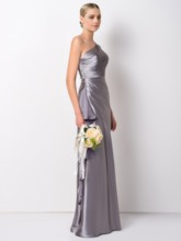 Column One Shoulder Ruffles Bridesmaid Dress