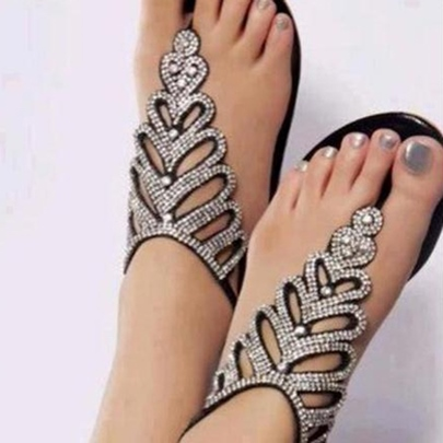 Rhinestone Black PU Flat Women's Sandals