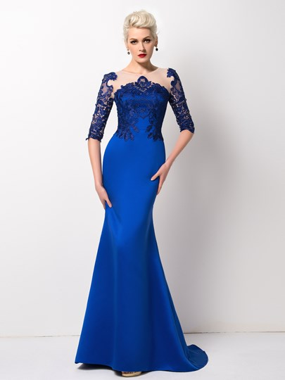 Mermaid Jewel Neck Lace Half Sleeves Sweep Train Evening Dress