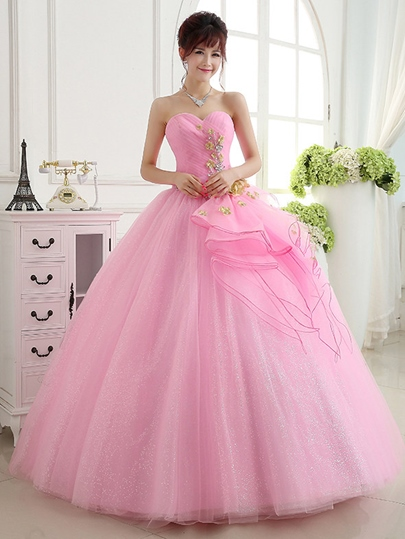 Sweetheart Flowers Beading Quinceanera Dress