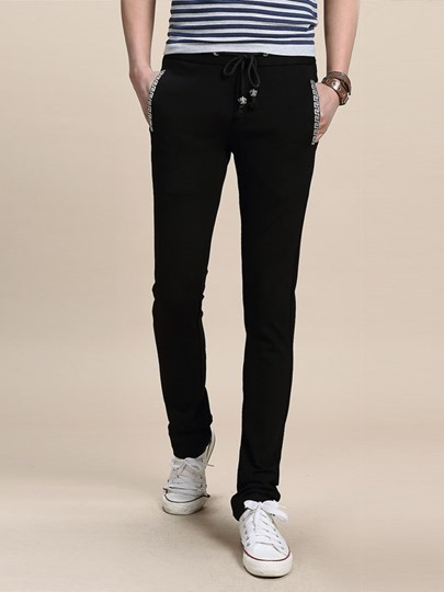 Solid Color Lace-Up Pencil Pants