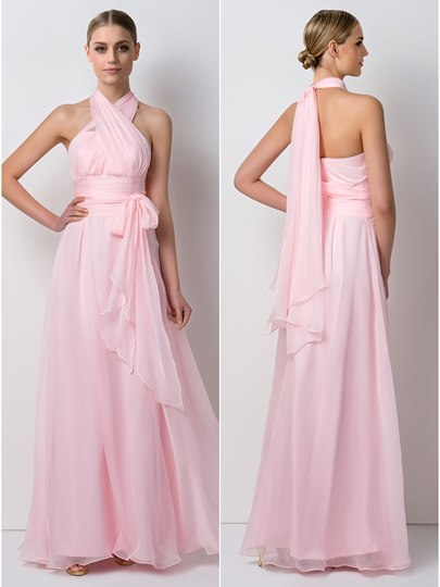 A-Line Convertible Chiffon Long Bridesmaid Dress