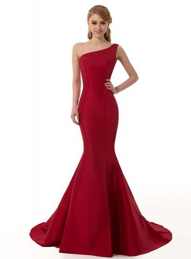 One-Shoulder Mermaid Pure Color Court Train Evening Dress