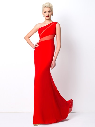 Mermaid One-Shoulder Floor-Length Evening Dress