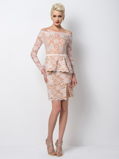 Sheath Off-the-Shoulder Lace Long Sleeves Short Cocktail Dress