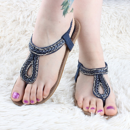 Elastic Band Cowhells Rhinestone Sweet Women's Sandals