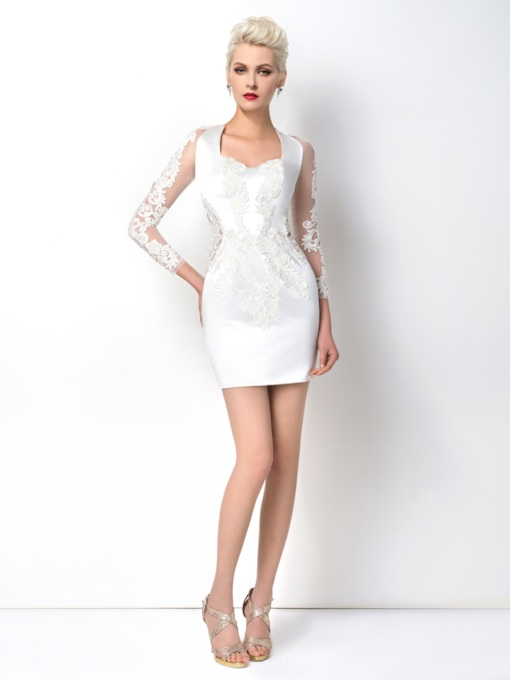 Sheath Squre Neck Appliques Long Sleeves Cocktail Dress