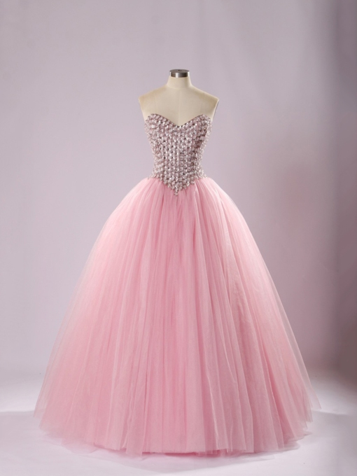 Sweetheart Beaded Sequins Floor-Length Ball Gown