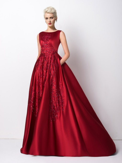 A-Line Bateau Neck Appliques Sweep Train Evening Dress