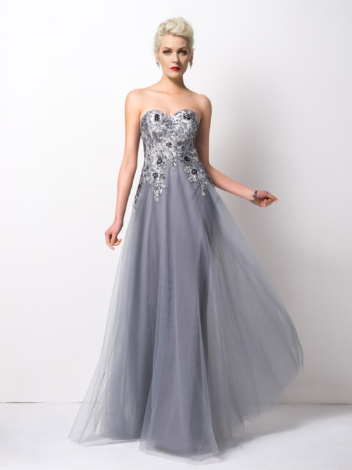Sequins A-Line Sweetheart Appliques Long Evening Dress