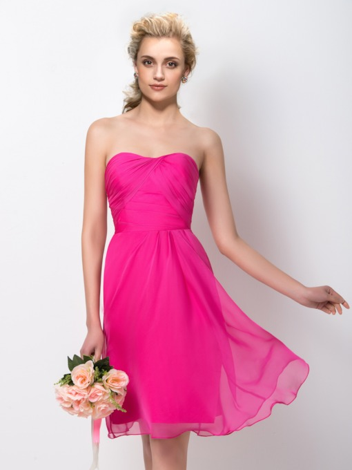 A-Line Sweetheart Zipper Up Short Bridesmaid Dress