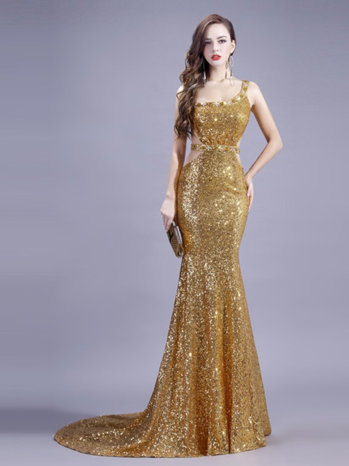 Sexy Beading Mermaid Golden Sequins Evening Dress