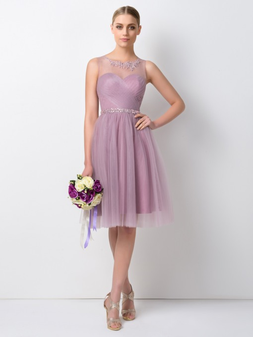 A-Line Scoop Beading Knee Length Bridesmaid Dress
