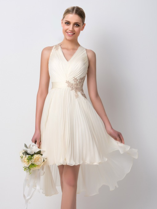 A-Line Appliques Asymmetry Bridesmaid Dress