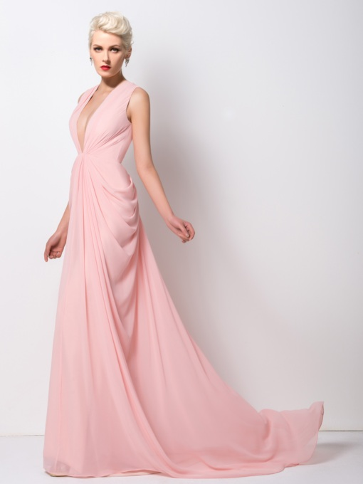Mermaid Deep V-Neck Draped Evening Dress