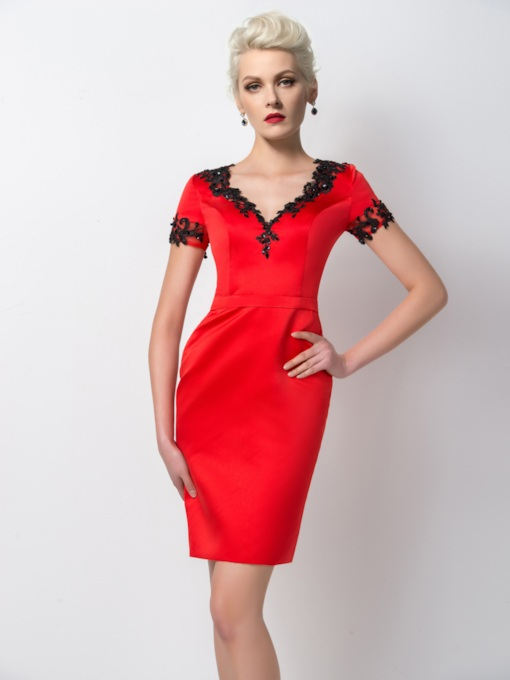 Sheath V-Neck Appliques Short Sleeves Cocktail Dress