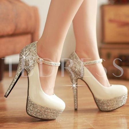 Patent Leather Stiletto Heel Sequins Womens Prom Shoes 11312566