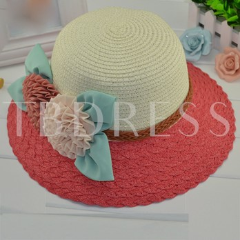 Flowers Applique Wide Brim Women's Beach Hat