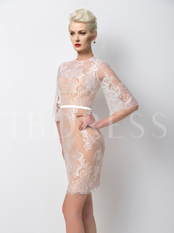 Sheath High Neck Lace Half Sleeves Cocktail Dress