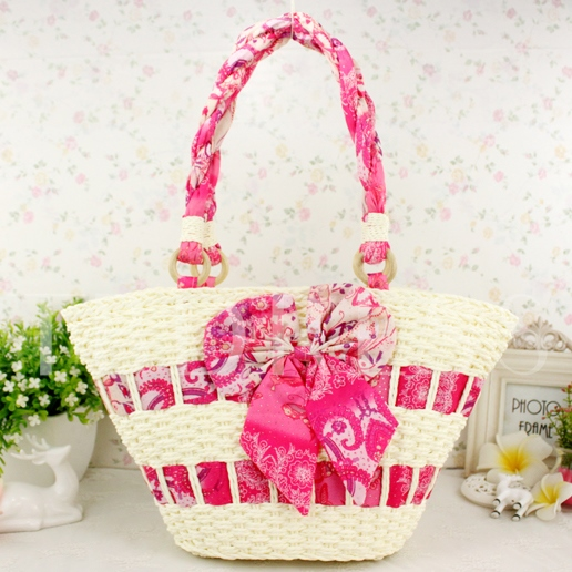 Bowknot Decorated Women's Straw Tote Bag