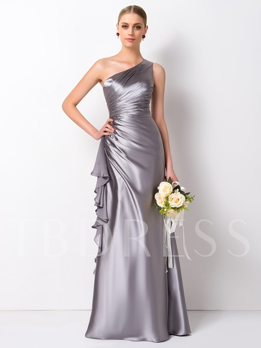 Column One Shoulder Long Bridesmaid Dress