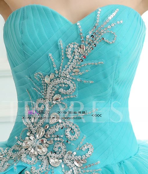 Ruched Sweetheart Bowknot Rhinestone Quinceanera Dress