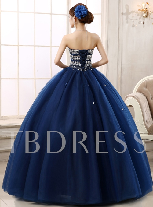 Sweetheart Beaded Lace-Up Ball Gown
