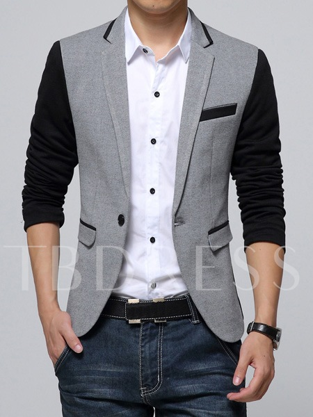Notched Collar One Button Slim Men's Blazer
