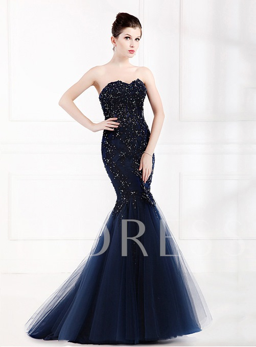 Mermaid Appliques Beading Evening Dress