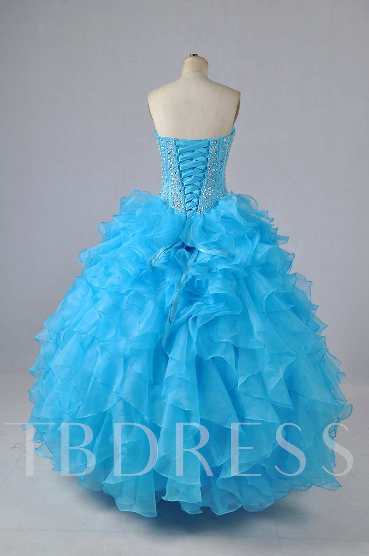 Sweetheart Beaded Cascarding Ruffles Ball Gown