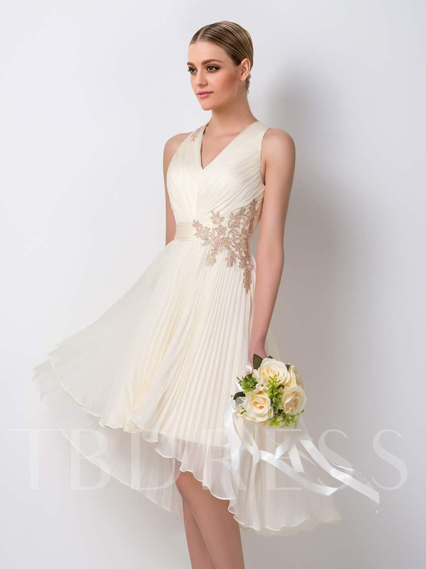 A-Line V-Neck Appliques Beach Bridesmaid Dress