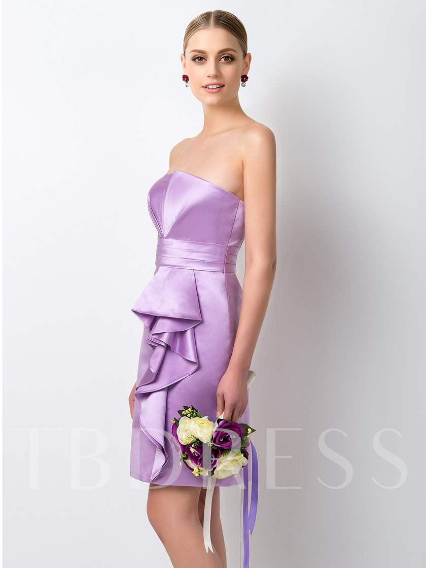 Column Strapless Ruffles Bridesmaid Dress