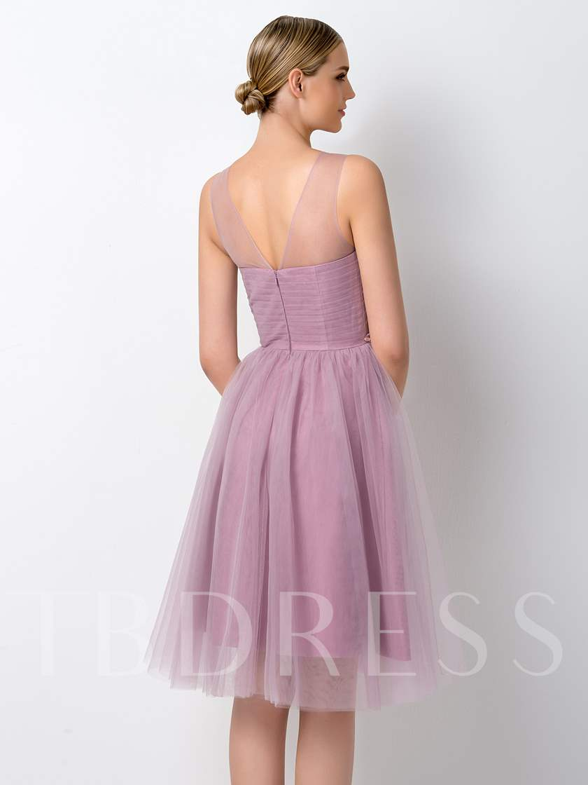 A-Line Beading Knee Length Bridesmaid Dress