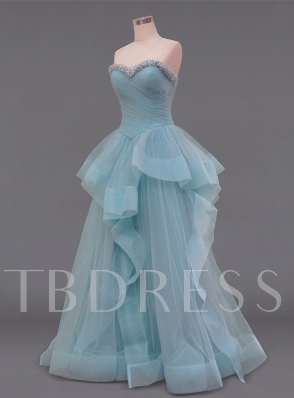 Ruffles Sweetheart Ball Gown Beadings Floor-Length Quinceanera Dress