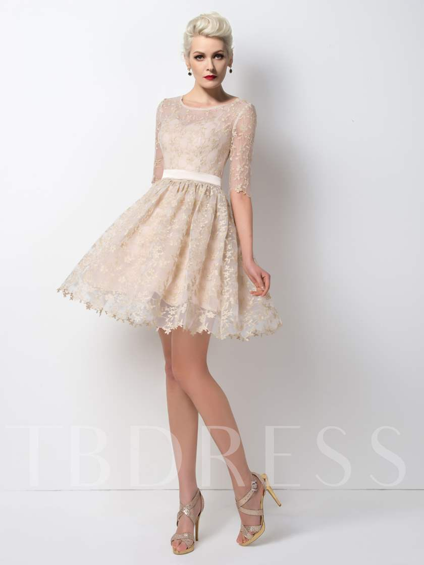 A-Line Scoop Neck Lace Short Cocktail Dress