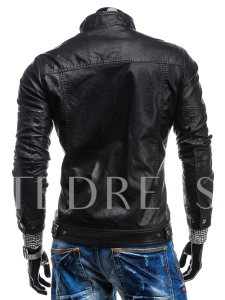 Zipper Stand Collar Long Sleeve Jacket
