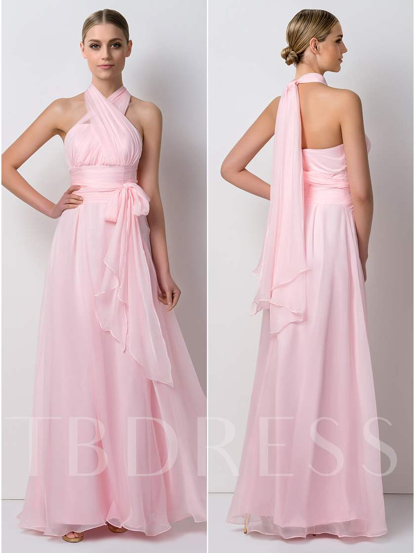 Sashes Convertible Chiffon Long Bridesmaid Dress