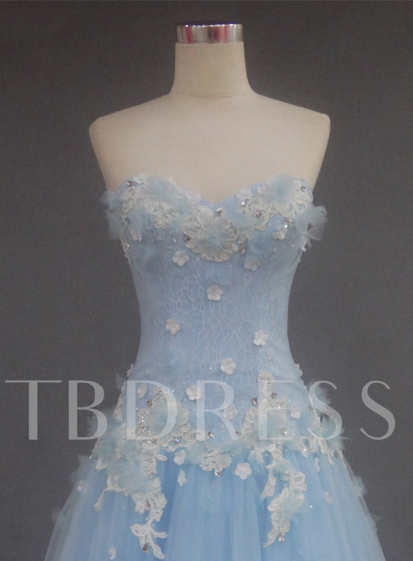 Sweetheart Beading Flowers Lace Prom Dress