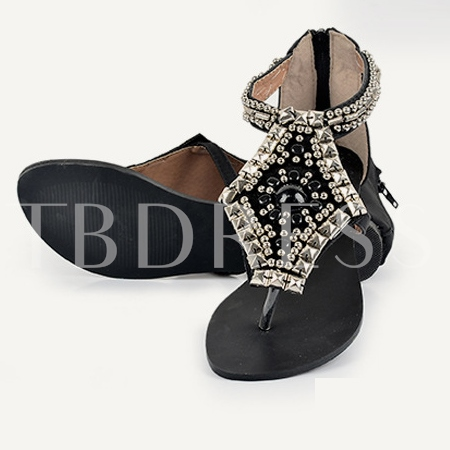 Buy Beading Rhinestone Flats Flip Flops Women's Sandals, Summer, 11310126 for $24.99 in TBDress store