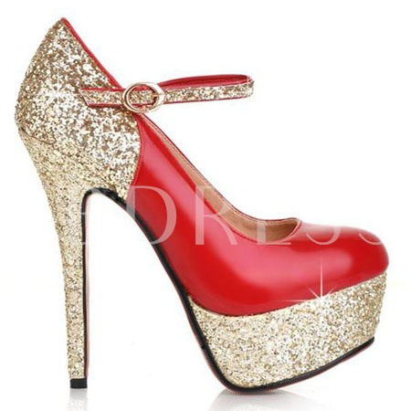 Patent Leather Stiletto Heel Sequins Women's Prom Shoes