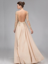 Bateau Neck Sequins Backless Long Sleeves Evening Dress