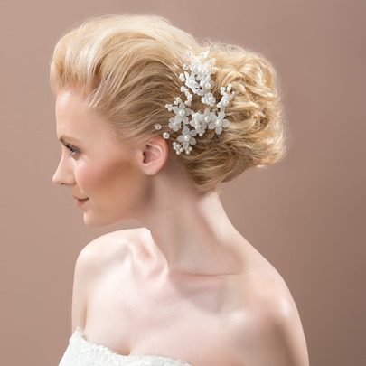 Pearl Rhinestone Bridal Wedding Party Hair Flower