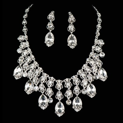 Rhinestone Alloy Wedding Jewelry Set
