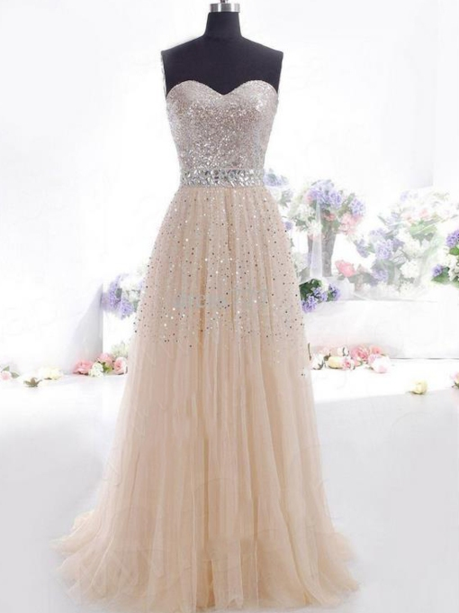 Sweetheart Rhinestone Sequins Champagne Prom Dress