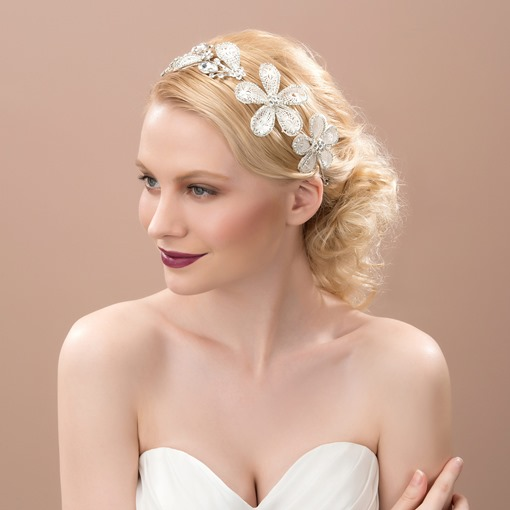 Lace Rhinestone Hair Flowers
