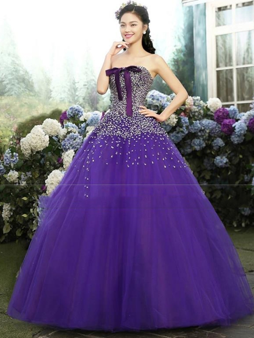 Strapless Ball Gown Bowknot Beadings Floor-Length Quinceanera Dress