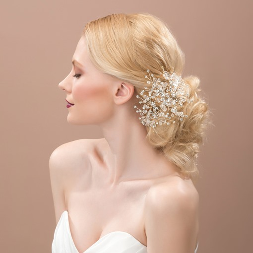 White Beading Alloy Hair Flower