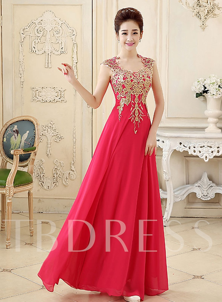 Image of A-Line Cap Sleeve Appliques Floor-Length Prom Dress