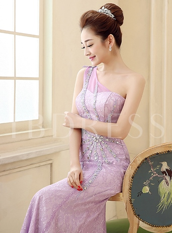 One-Shoulder Beaded Trumpet Lace Mermaid Evening Dress