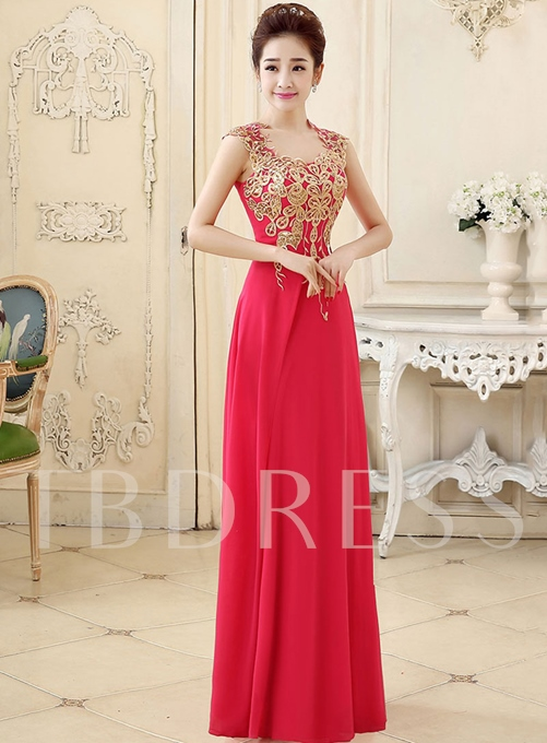 A-Line Cap Sleeve Appliques Floor-Length Prom Dress